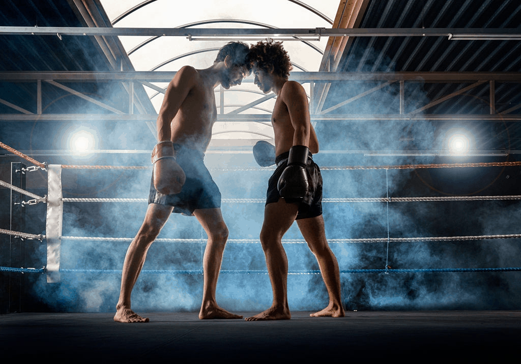 muay thai vs boxing - two men in fight