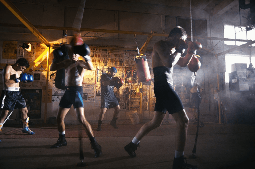 boxers working out in gym