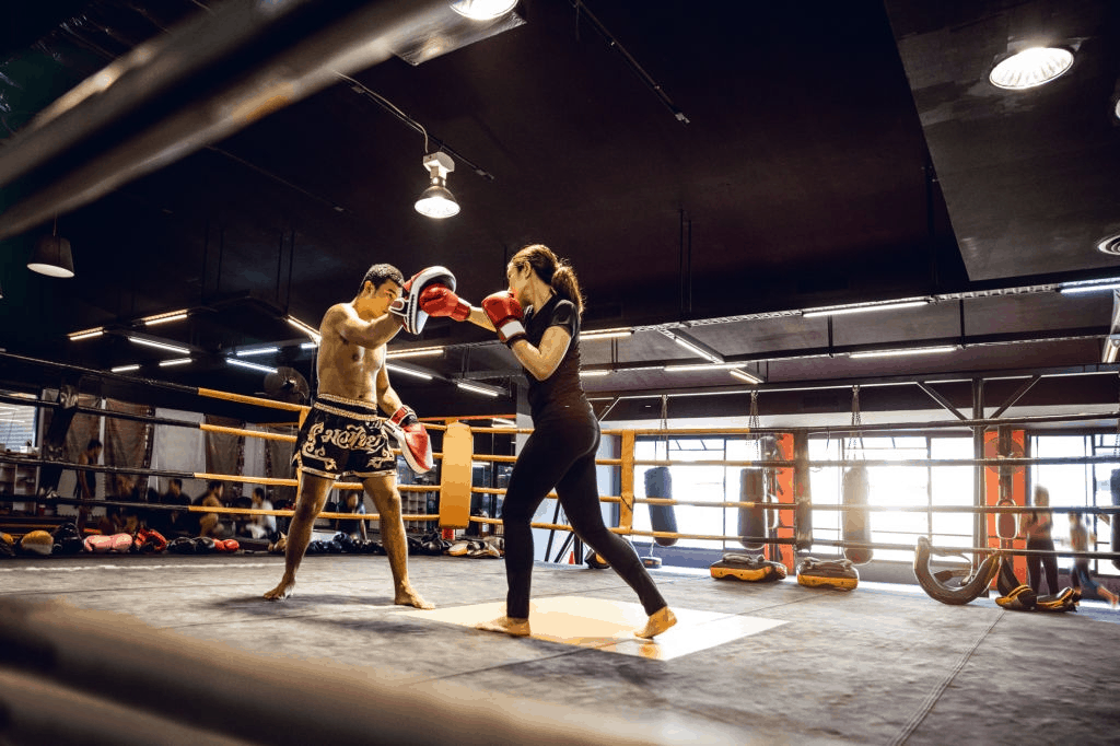 Muay Thai fighters sparring