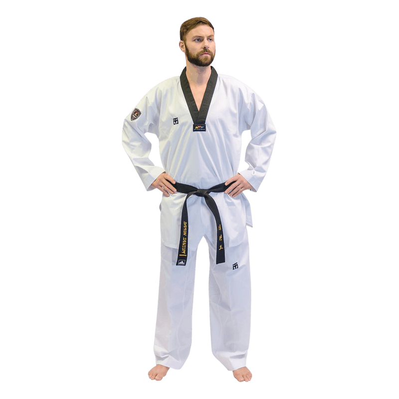 man wearing taekwondo black belt