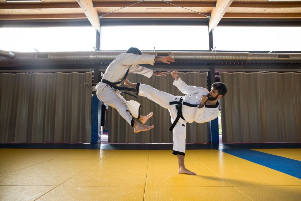 two fighters in kimonos practicing hapkido