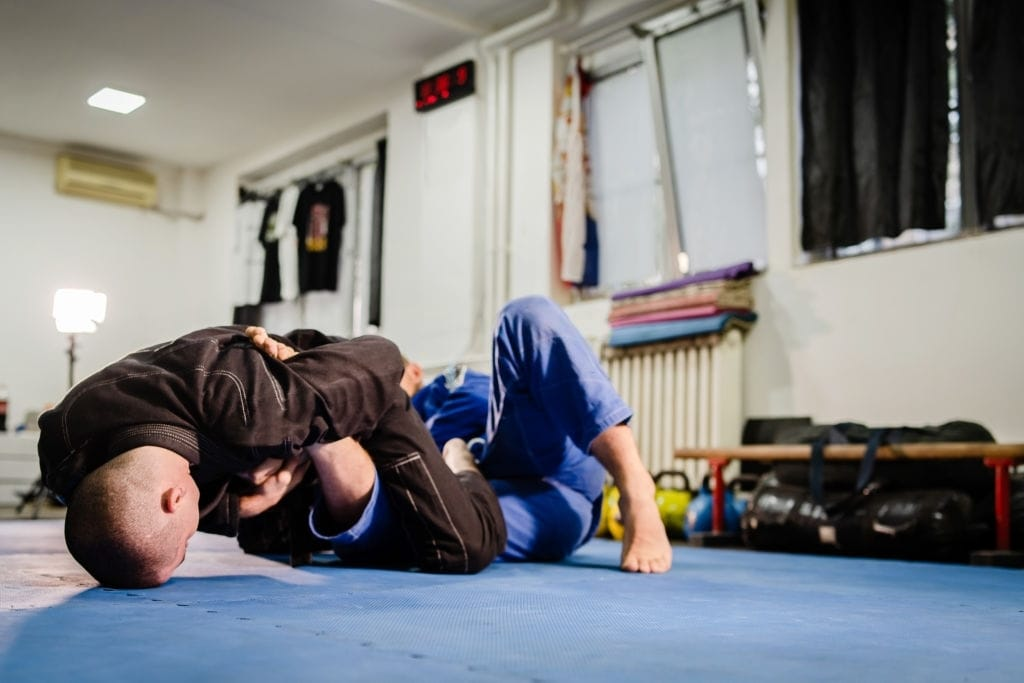 BJJ training sparring at the academy